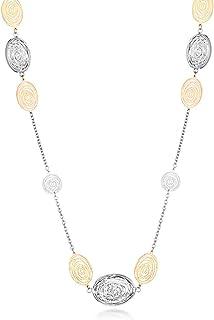 Ouran - Collana lunga da donna, placcata in oro rosa e argento, con cristalli di zircone, regalo per amici, mamma