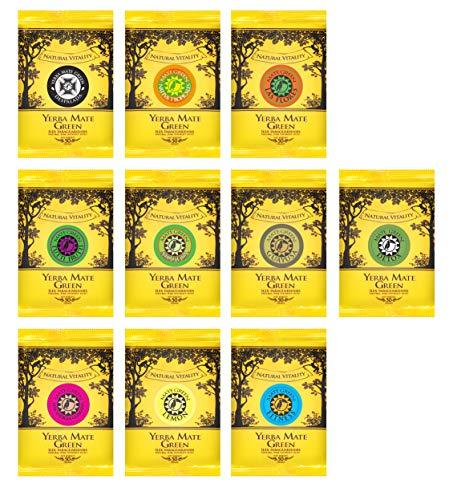 Mate Green Set mit 10 verschiedenen Proben von Yerba finden Sie Ihren Lieblingsgeschmack   Yerba Mate Tee mit Früchten   Natürlicher Wachmacher und Energy Booster mit Koffein