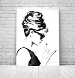 LangGe Wall Pictures 15.7x23.6in(40x60cm) No Frame Audrey Rocks Art Print Fashion Vintage Black and White s Style Audrey Hepburn