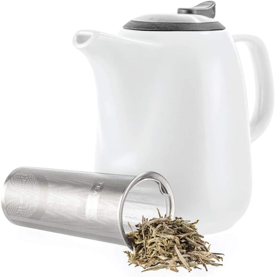 Tealyra - New product! New type Daze Ceramic Large 47-ounce Fashionable cups Teapot 6-7 White