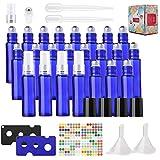 24 Botellas de Aceite Esencial de 10 ml,Azul con Spray de Vidrio Botella Tapas Negras y Abrebotellas, Aromaterapia, Fragancia, Tamaño de Viaje