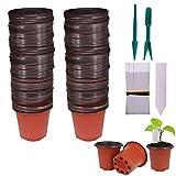 Huvai Lot de 100 pots de plantules en plastique avec 100 étiquettes de plantes étanches en plastique et 2 pièces