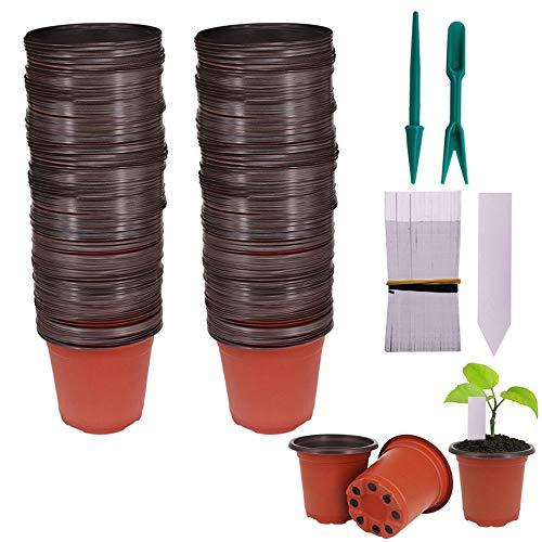 Huvai 100 piezas de 4 pulgadas de plástico semillas plantas guardería macetas con 100 piezas de plástico resistente al agua etiquetas de plantas y 2 piezas/set de herramientas de transplantación mini
