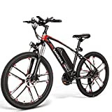 OUXI Bicicleta de montaña para Adultos, 350W, con neumáticos de Goma de Aire de 26 Pulgadas y batería extraíble de 48 V 8 Ah con Gran Capacidad, Pantalla LCD (MY-SM26 Negro)