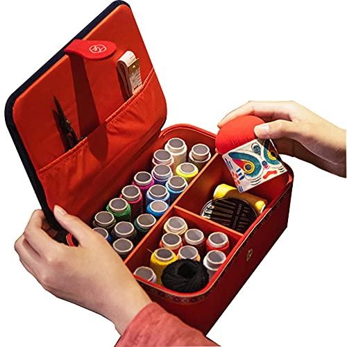 XBAOMING Set De Costura, Cuernos De Bordado Hechos A Mano con Accesorios, Adecuado para Principiantes, Hombres, Mujeres,Rojo,15.5x23cm