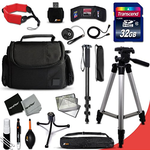 Canon PowerShot Complete ACCESSORIES Kit for Canon POWERSHOT SX60 HS, SX50 HS, SX530 HS, SX610 HS, SX710 HS, SX410 IS, G7 X, G1 X, G1 X Mark II, G1 X,G15, G16, SX520 HS, SX600 HS, SX700 HS, SX510 HS, D30, D20, SX500 IS, S200, S120, N, N100, SX50 HS, SX40 HS,SX280 HS, SX270 HS, SX260 HS, A2500, A1400, A3500 IS, S110, SX170 IS, SX160 IS, SX500 IS, A810, A1300, A2300, A2400 IS, A3400 IS, A4000 IS, SX240 HS, SX260 HS Digital Cameras Includes: 32GB High Speed SD Memory Card + Pro Grade 60' inch Tripod + Full size 72' Inch Monopod + Well Padded Camera Case + Floating Foam Hand-Strap + Gold plated HDMI Cables + Memory Card Wallet Case Holder + 58mm Center Pinch Lens Cap + Lens Cap Holder + 2 Screen Protectors + Universal Memory Card Reader + Cleaning Dust Blower + Cleaning Pen + Mini Flexible Table Tripod + Deluxe Cleaning Kit