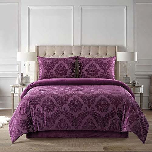 New Sega Home Textiles Tripoli Plum - Juego de edredón para Cama de Matrimonio (4 Piezas)
