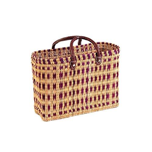 Simandra Einkaufskorb aus Seegras I geflochtene Tasche mit Ledergriff I groß mit kurzem Griff I Lila