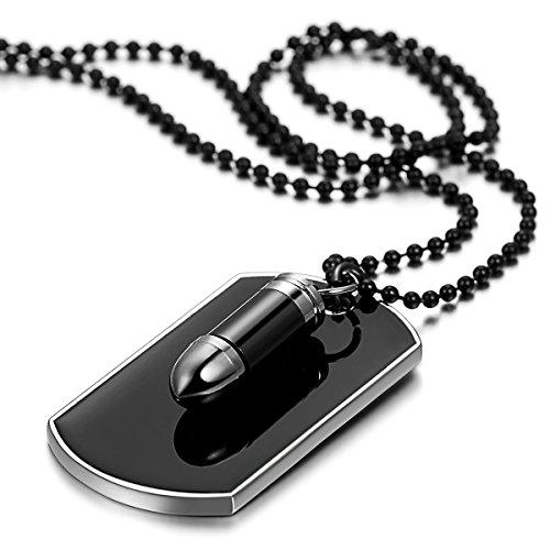 JewelryWe Schmuck Herren Halskette, Gewehrkugel Geschoss Militärischen Erkennungsmarken Armee Stil Dog Tag Anhänger mit 70cm Kette, Schwarz Silber