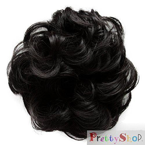 PRETTYSHOP Haarteil Haargummi Hochsteckfrisuren Brautfrisuren Voluminös Gelockt Unordentlich Dutt Schwarz G1A
