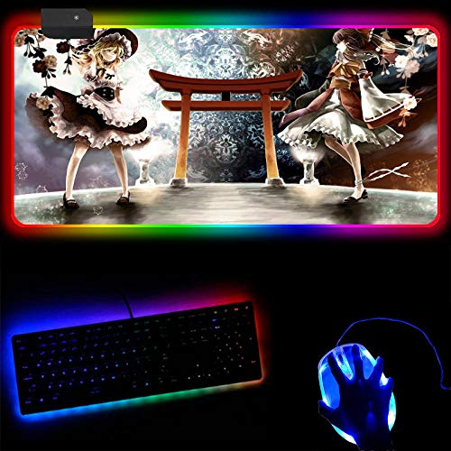 Mouse Pads Anime Touhou Project Large Gaming Mouse Pad Gamer Locking Edge Keyboard Mouse Mat USB Port with 14 Lighting Modes Great to Use for Gaming and Office Work-30X80X0.4Cm