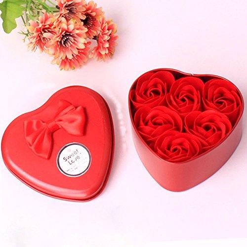 ELECTRI 6 Pièces Préservé Rose Parfumée Savon de Bain, Boîte Romantique Savon Rose Fleur Anniversaire Cadeau de Saint(Rose Rouge)