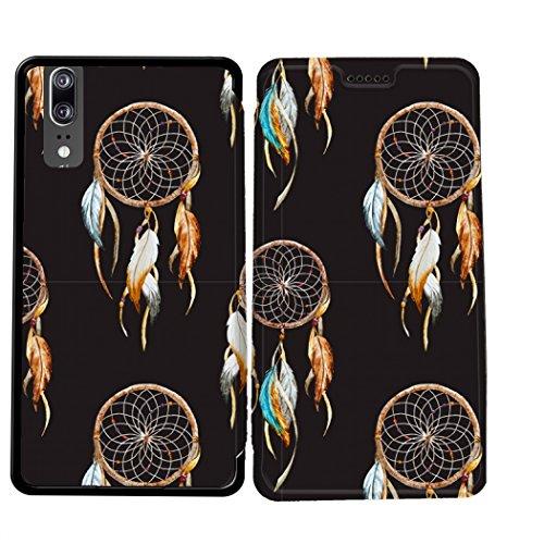 Case-Industry Mobilefashion Custodia Protettiva Case Cover per Huawei P20 - Esterno modello Dreamcatcher Collection Pattern Cuoio PU