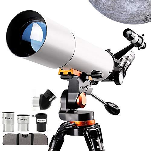 GUOKUI Telescopio para Principiantes, Adultos De 80 Mm Astronómico Refractor Telescopios con Filtro De Altura Ajustable del Trípode del Teléfono Monte Luna 3X Lente Barlow Ver El Paisaje Natural