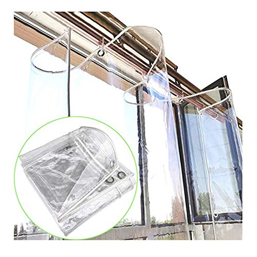 SHIJINHAO Tarpaulin PVC Tarp, Transparent Sheet Waterproof Dust-proof With Anti-rust Grommet For Balcony Rain Shelter, Furniture Cover, 50 Sizes (Color : Clear, Size : 1.4x9m)