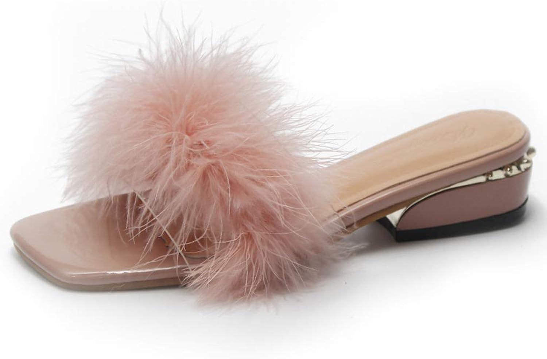 Hoxekle Fashion Feather Slippers Women shoes Fur Square Heel Ladies Flip Flops Wedges Indoor Slides Outdoor Slipper