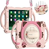 BRAECN Kids Case for iPad Mini 5/4/3/2/1, Silicone Shockproof Protective Boy Girl Cute Cover with Pencil Holder, Handle Grip, Hand Strap, Kickstand, Shoulder Strap for Apple iPad Mini 7.9 Inch-Pink