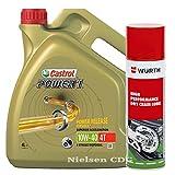 Castrol Power 1 4T 10W-40 - Aceite de moto (4 L, incluye lubricante de cadena de calor, 500 ml)