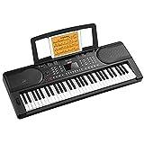 Moukey 61 Teclas de Teclado Piano Para Principiantes, Teclado de Piano Digital con Soporte de Piano Eléctrico, Pantalla LED, 300 Ritmos, 300 Tonos, 50 Demos y Modo de Aprendizaje Para Niños, MEK-200