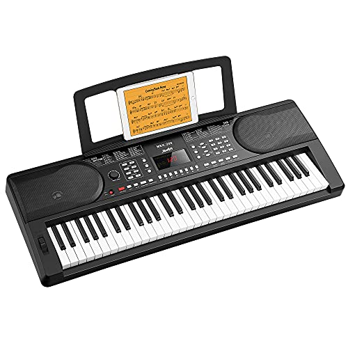 Moukey 61 Key Keyboard Piano for Beginners, Full-Size Key Digital Piano w/Built-in Speaker, LED Screen, Sheet Music Stand, Power Supply, Electric Piano, Teaching Mode, 300 Voices, 50 Demos, 300 Rhythm