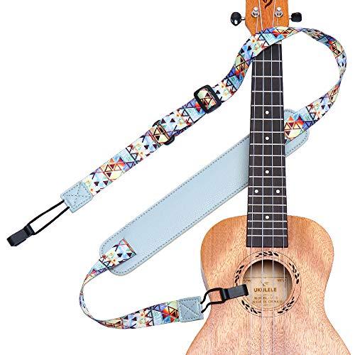 Ukulele Strap No Drill, Eyeshot Adjustable Double J Hook Clip on Ukulele Shoulder Strap, Hawaiian Premium Woven Hands Free Ukelele Strap, Easy to Use and Fit Most Standard Uke Sizes
