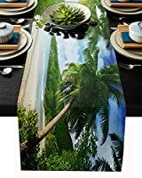 テーブルランナー ビーチ 青い 緑 光 夏 テーブルクロス お食事マット プレースマット おしゃれ インテリア 食卓飾り 滑り止め 欧風 無地 おもてなし パーティー ホームデコレーション 33x229cm