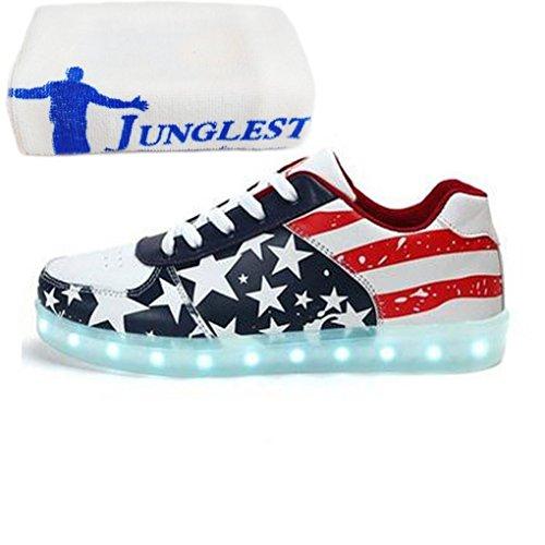 (Presente:pequeña Toalla) JUNGLEST® Unisex Hombres Mujeres de Carga USB Zapatos de la Bandera Americana de Deportes LED Luminoso Que Destellan