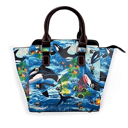 Whale Under Water Creature Women'S Rivet Shoulder Bag Large Capacity Handbags Crossbody Satchel Bag With Shoulder Strap Adjustable Handle