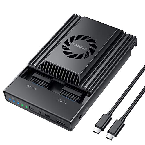 ineo Dual-Bay NVMe Docking Station, USB C to NVME SSD Enclosure for M Key PCIe 2242 2260 2280 M.2 SSDs, Support Offline Clone Duplicator (SSD NOT Included) [2608]