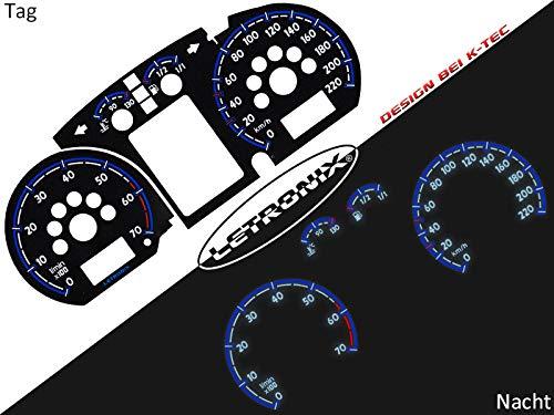 LETRONIX Plasma Tacho Tachoscheiben für Auto Polo 9N 0-220Km/h 7000U/min