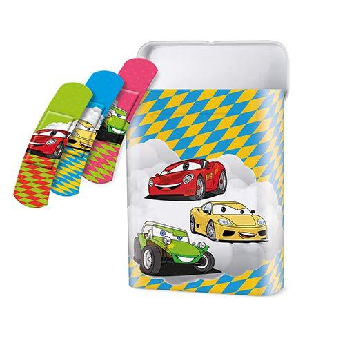 40 Pflaster-Strips Box 5,6 cm x 1,9 cm - mit 3 Kids-Like Auto Motiven für eine schnelle Heilung, wiederverwendbaren Zinkbox, 2er Pack (2 x 1 Stück)