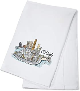 Chicago, Illinois - Chicago Cityscape - Line Drawing (100% Cotton Kitchen Towel)