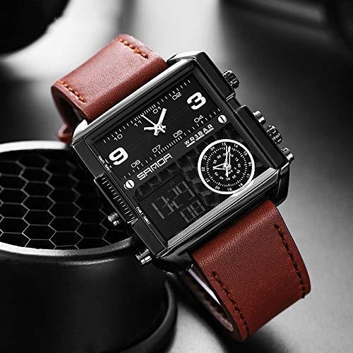 SANDA Relojes De Pulsera,Reloj electrónico clásico de Moda de Tres Tiempos, Reloj Cuadrado Multifuncional, Reloj Informal de Cuero Impermeable para Hombres-Cinturón café Negro