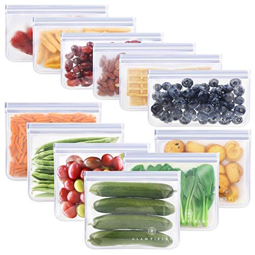 GLAMFIELDS Reusable Food Storage Bags - 12 Pack Leakproof Freezer Bags(6 Reusable Sandwich Bags & 6...