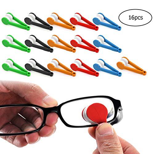 GCOA 16 Stück Mini Brillen Mikrofaser Brillenreinigungsbürste Sonnenbrille Brillenreiniger Weiche Bürste Reinigungsclip Reinigungswerkzeug (zufällige Farbe)