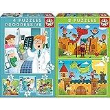 Educa - De Mayor Quiero Ser Conjunto De Puzzles Progresivos, Multicolor (17146) + Dragones Y Caballeros 2 Puzzles De 48 Piezas, Multicolor (17151)