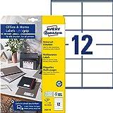 Avery Zweckform 3424-10 - Etichette adesive per indirizzi (120 etichette, 105 x 48 mm su DIN A4, carta opaca, stampabili, ideali per ufficio domestico), 10 fogli, colore: Bianco