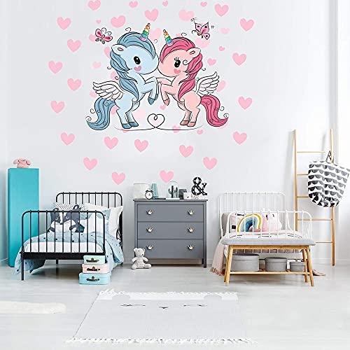 HUIJK Dormitorio decorativo nuevo lindo amor fantasía unicornio pegatinas de pared habitación de los niños sala de estar dormitorio decoración pegatinas de pared decorativos papel pintado