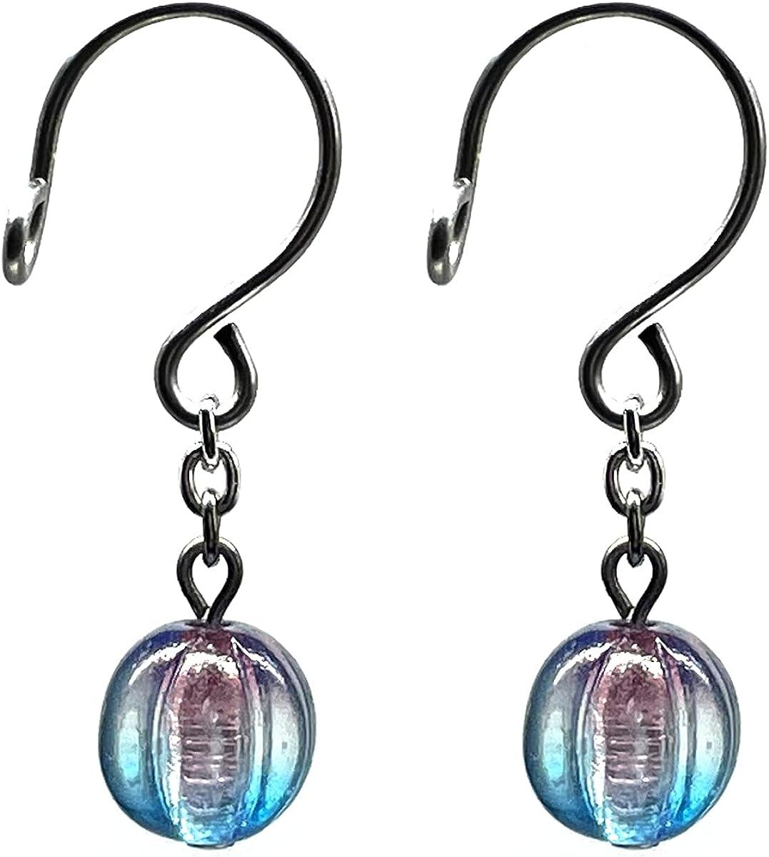 Nipple Rings Fake Piercings Non-Piercing Body Jewelry Pumpkin Czech Glass Caribbean Blue
