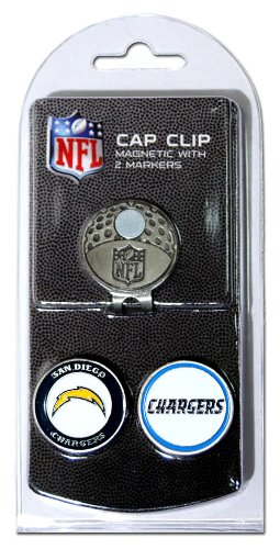 Team Golf NFL San Diego Chargers Golf Cap Clip with 2 Removable Double-Sided Enamel Magnetic Ball Markers, Attaches Easily to Hats