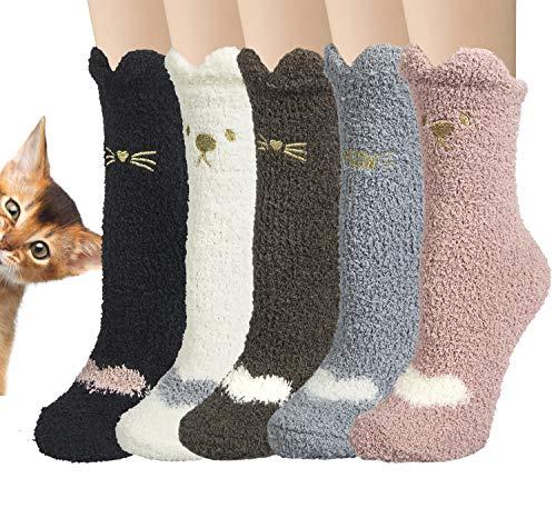 Justay 5 paia Caldo Morbido Calzini Modello Animale Cartone Animato Calze Pantofola Calze Antiscivolo Donna
