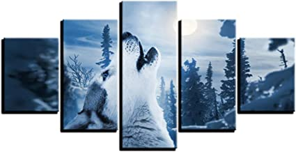 Canvas wall artist home decoration HD print poster 5 pieces of forest animals snow wolf paintings for living room picture ...