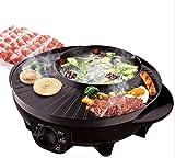 Cuisinière à barbecue double style BBQ au style coréen, puce anti-friteuse à puce électrique, sans bâton, puissante, multifonctionnel, sans fumée, ronde, fourneau, pot à usage multiple, noir