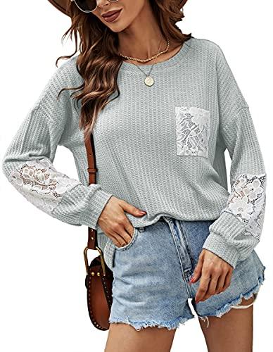 Odosalii Oberteile Damen Herbst Oversize Sexy Pullover Basic Langarmshirt Ausgefallene Strickpullover(Grau, Meduim)