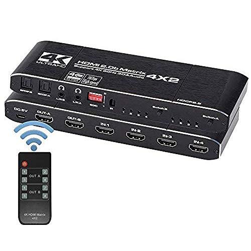 KuWFi HDMI Matrix 4x2, Soporte de Divisor de Interruptor HDMI HDCP 2.2 Control Remoto IR Interruptor HDMI 4x2 Spdif 4K Interruptor de Matriz HDMI 4x2