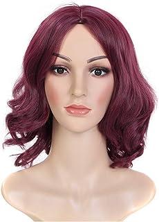 ワイン赤い気質分割したかつらの帽子は、女性のための顔の短い縮毛のかつら (Color : Red wine)