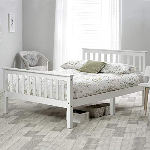 Cama doble de madera con marco de madera de 4 pies y 6 cama doble en color blanco para adultos, niños, adolescentes (4 pies 6)