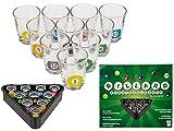 Bada Bing 10 Schnapsgläser Billard Snooker Ca. 35ml Mit Passendem Triangel Tablett Design mit...