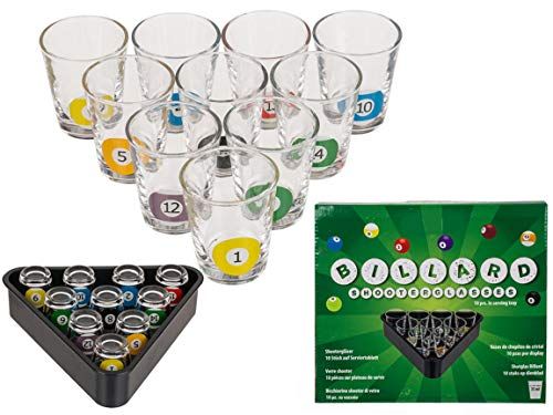 Bada Bing 10 Schnapsgläser Billard Snooker Ca. 35ml Mit Passendem Triangel Tablett Design mit Billardkugeln Auf den Pinnchen Shooter Gläser mit Dreieck Serviertablett Originelles Geschenk 25