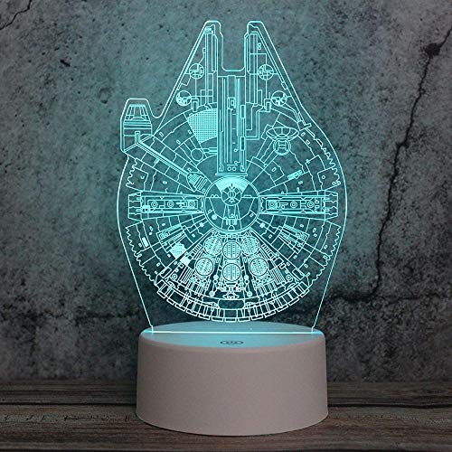 Night light Night light colorful remote control led multifunctional three-dimensional small desk lamp creative 3D light star wars spaceship white base: three-color remote control usb